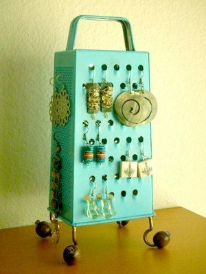 Teal Cheese Grater Used as Jewel Organizer