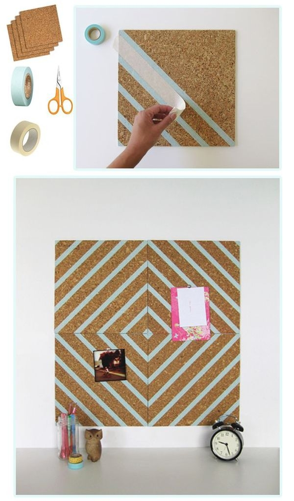 Highly Graphic Washi Tape Cork Pin board DIY dorm room décor
