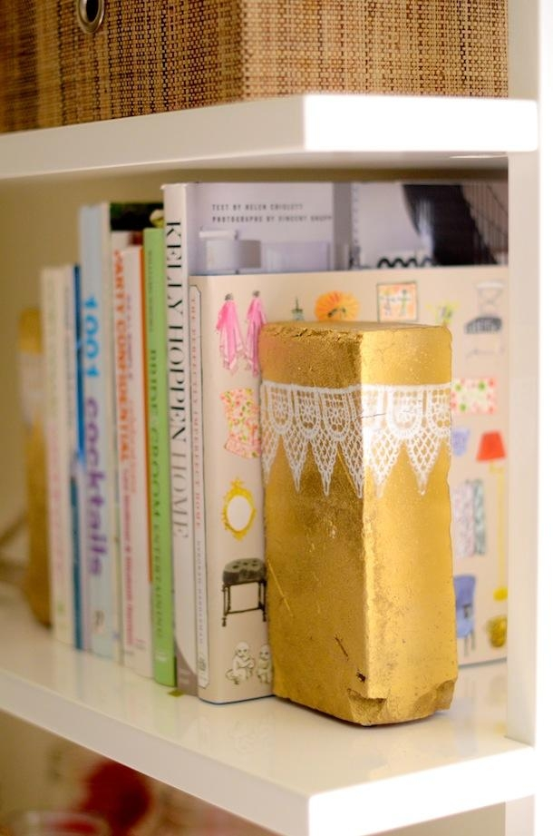 Golden Painted Lace Patterned Brick Bookends
