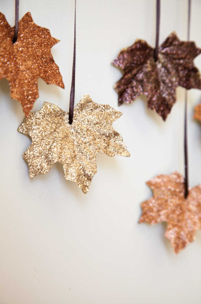 diy glitter projects fallen leaves