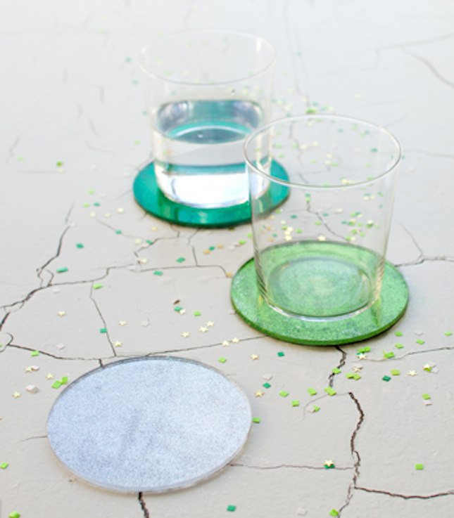 diy glitter projects coasters