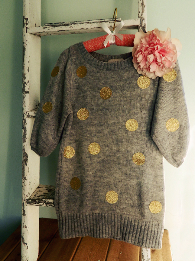 diy glitter projects polka sweater