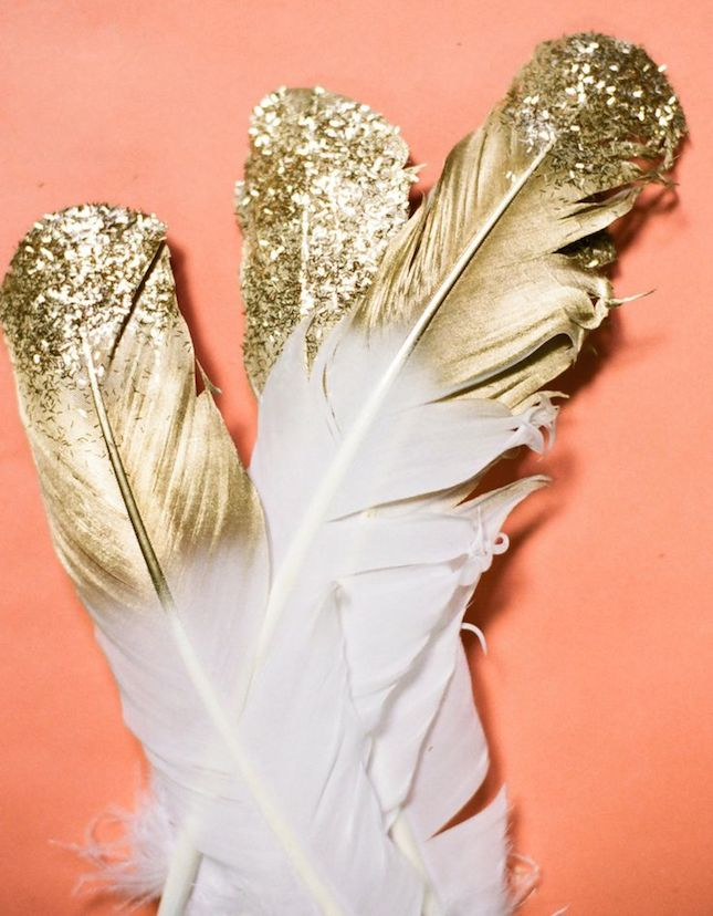 diy glitter projects gold feathers
