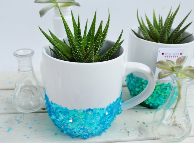 diy glitter projects coffee mugs
