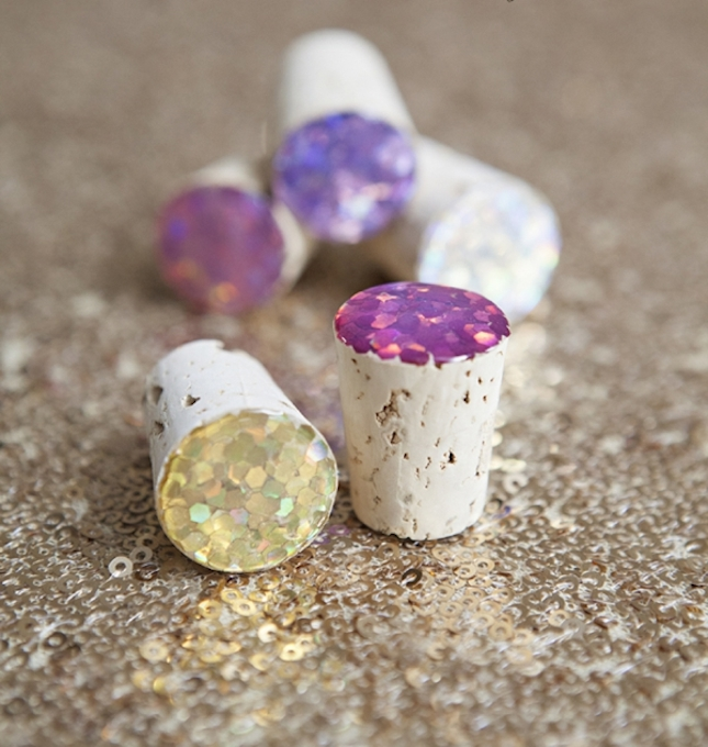 diy glitter projects wine stoppers