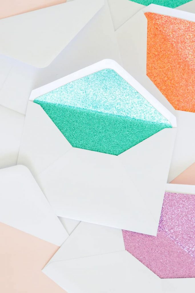 diy glitter projects envelope