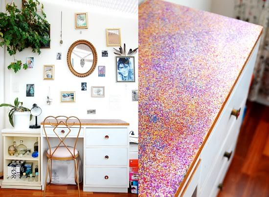 diy glitter projects colorful desk