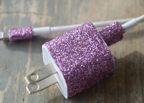 diy glitter projects phone charger