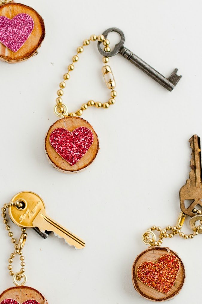 diy glitter projects key chain
