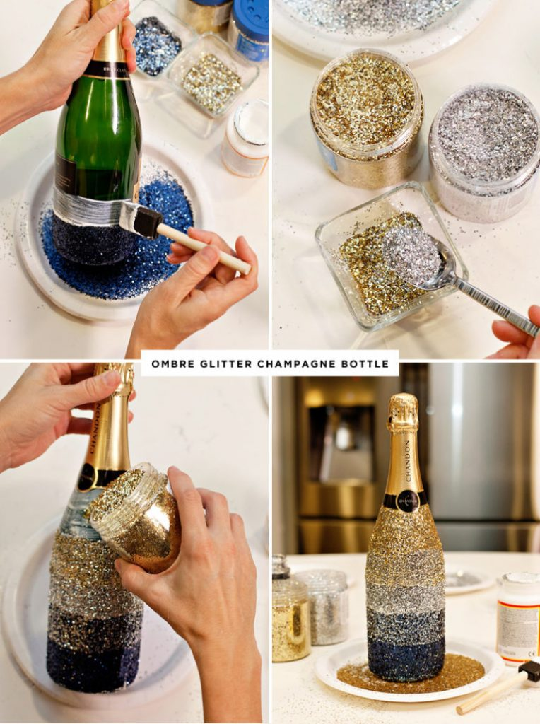 diy glitter projects champagne bottle