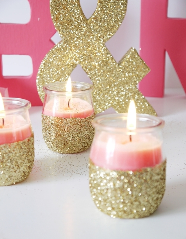 diy glitter projects candle holders