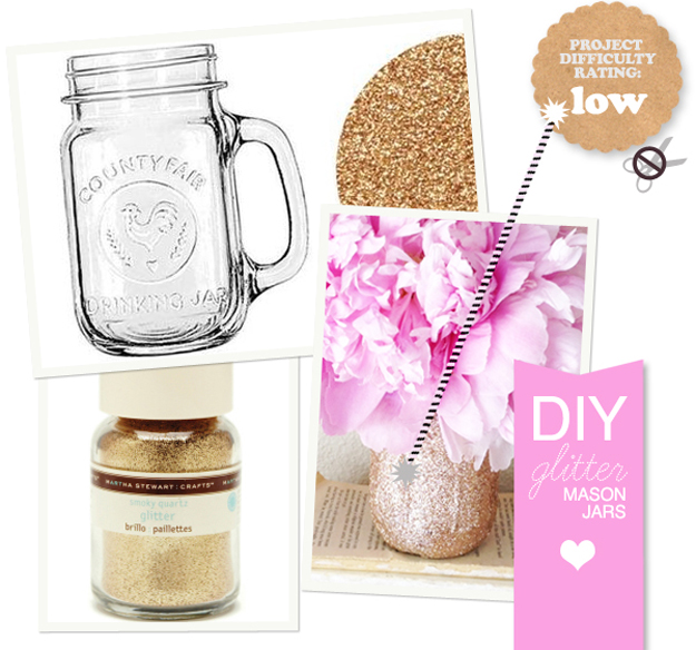 Spruce Up Some Mason Jars With Glitter