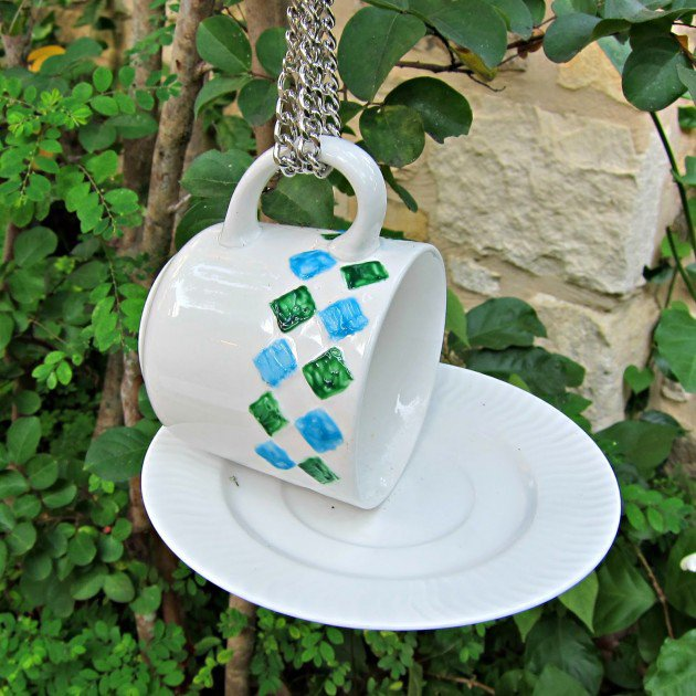 teacup fountain for birds