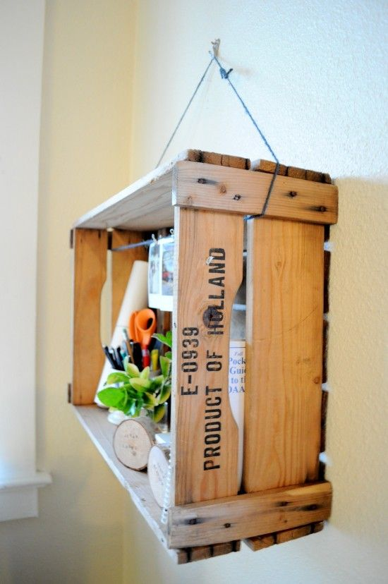 29 Ways to Decorate With Wooden Crates usefuldiyprojects.com decor ideas 6 - 29 Ways To Be Sustainable by Decorating With Wooden Crates