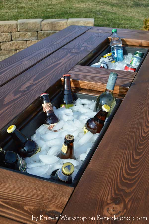 Homemade DIY Patio Table with drink cooler