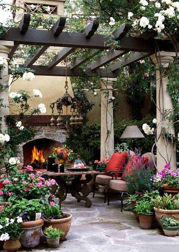 Pergola Design with Columns Beautified by Greenery