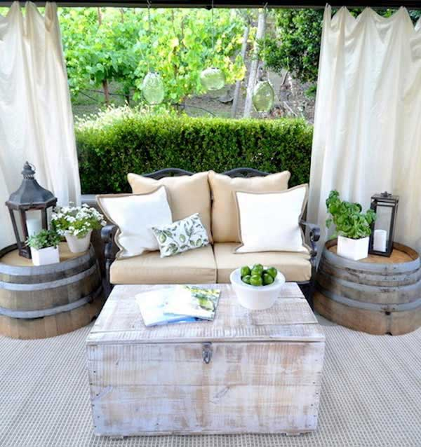 Wine Barrel Side Tables Beautifying the Patio in a Rustic Manner