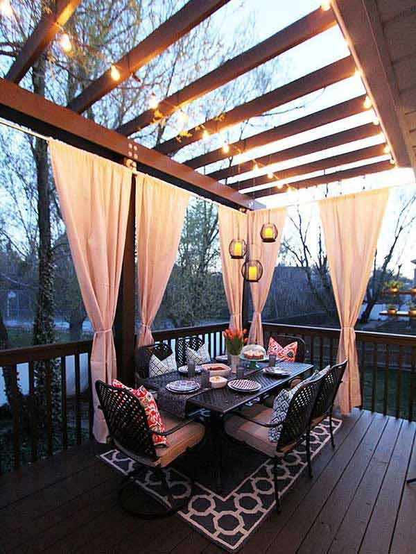 Beautiful Pergola Enlightened by String Lights