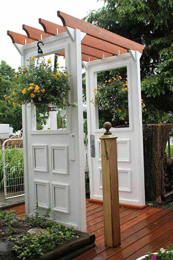 Recycled old doors into a great pergola