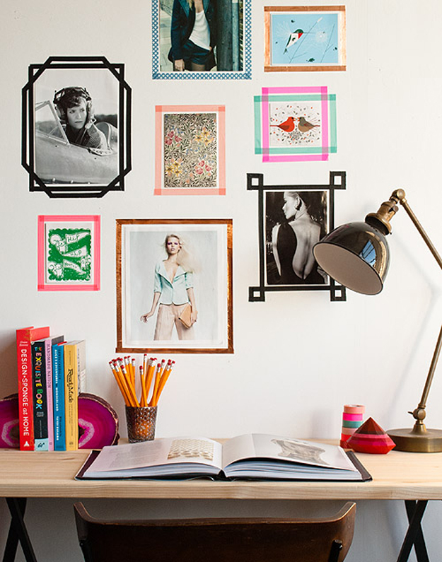Use Tape To Create Picture Frames And Avoid Adding Nails To Your Walls