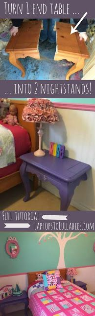 Transform an old table to beautiful nightstands