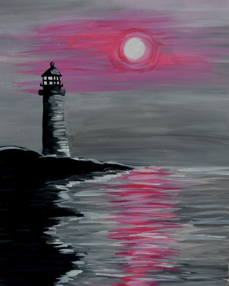 lighthouse seaside canvas painting