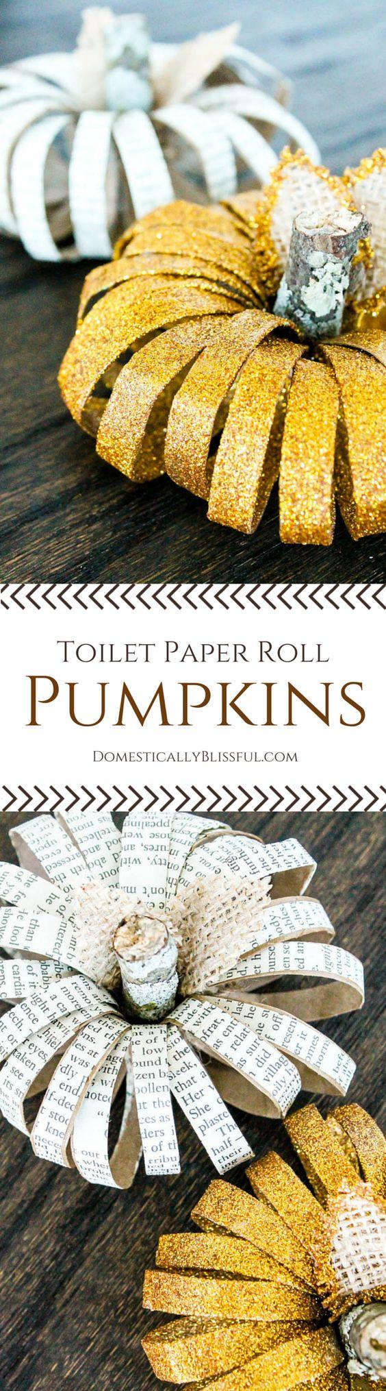 Pumpkin toilet paper roll décor