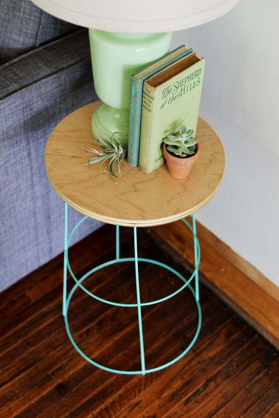 Wood and metal perfectly matched in this diy nightstand