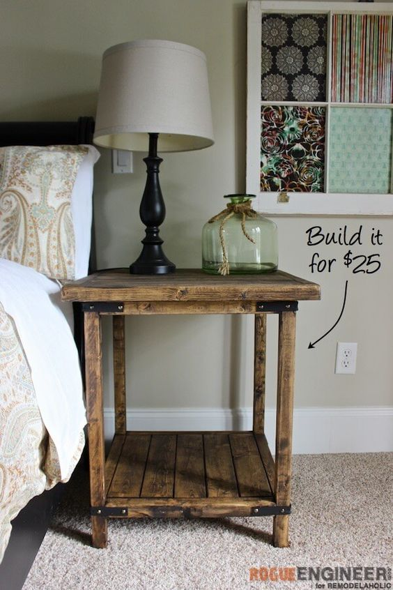 Old pieces of wood can make this rustic nightstand