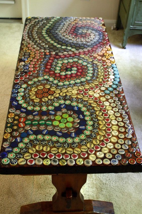 Upgrade your table with colorful bottle caps