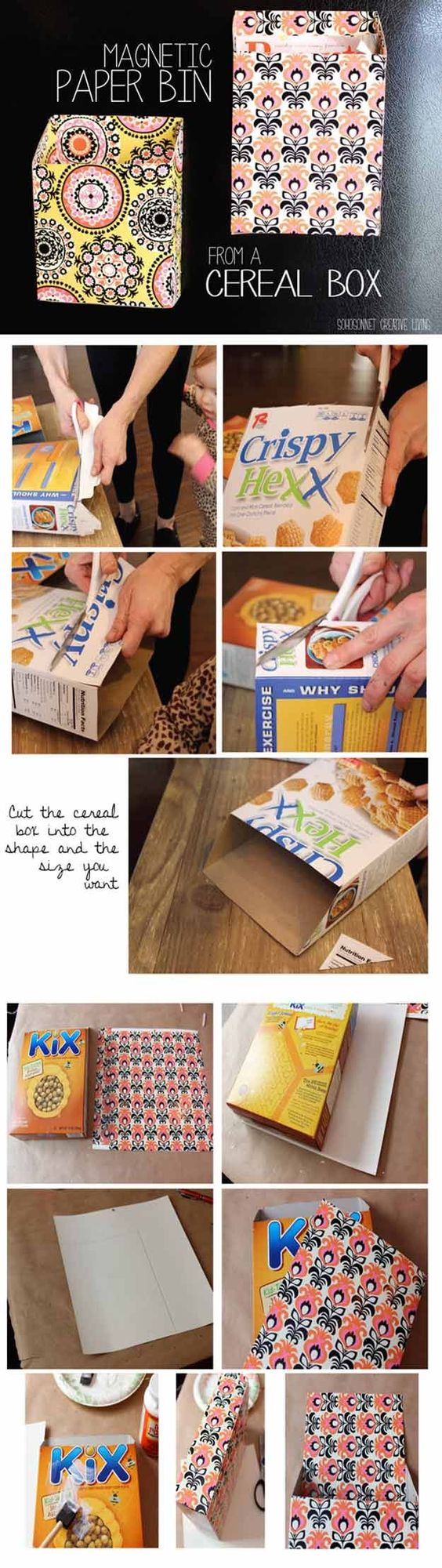 Magnetic cereal box bins