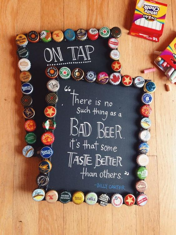 Bottle cap chalkboard