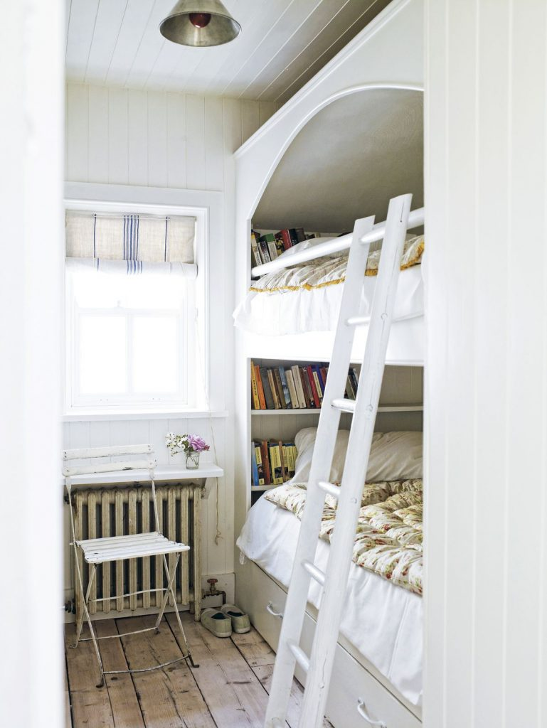 white vintage double deck bed