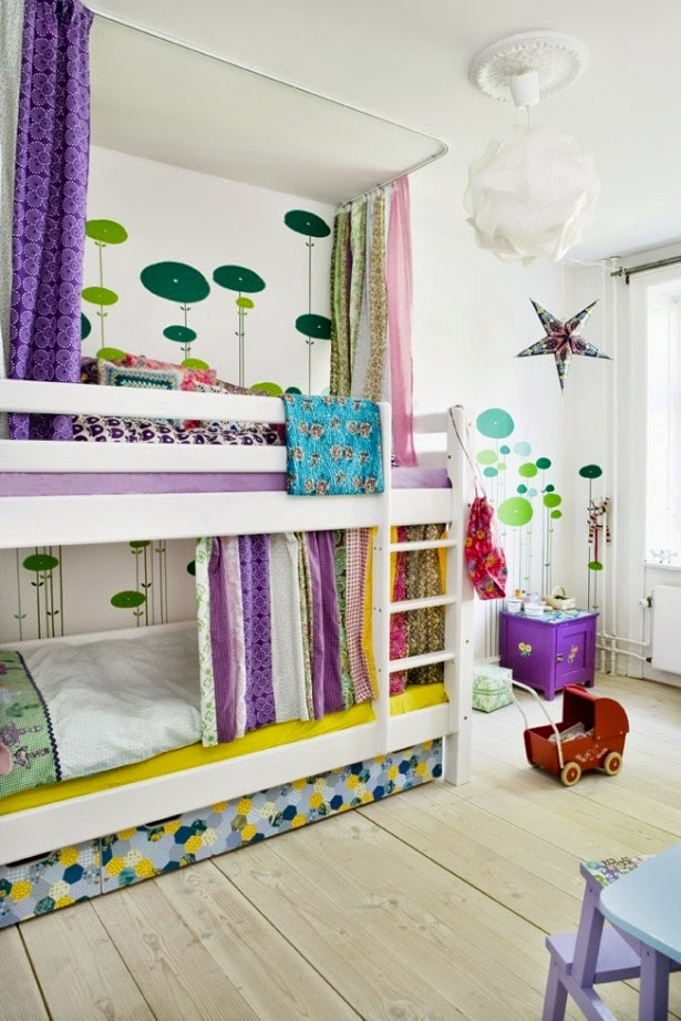 colorful double deck bed