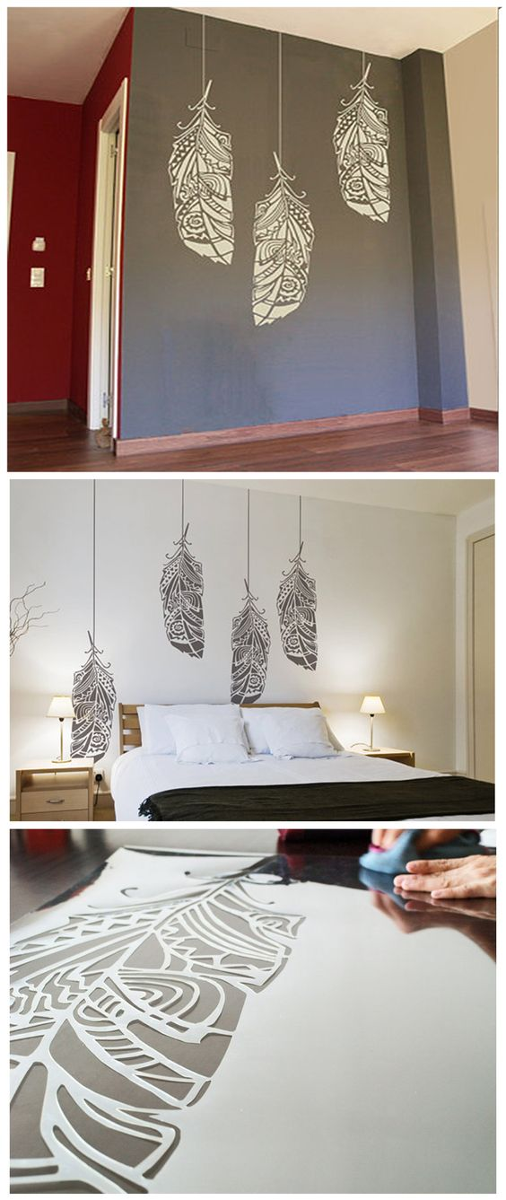feathers wall design