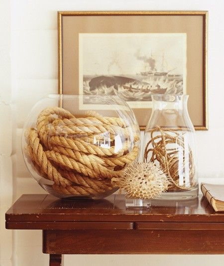 diy nautical rope and glass