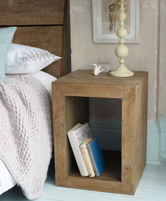 Blocks of wood can make a modern nightstand