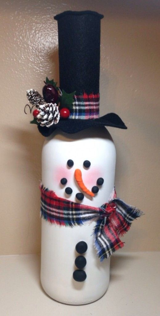 snowman glass bottle crafts