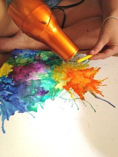 diy paintings with crayons