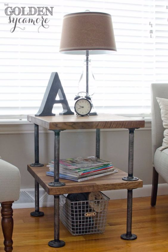 diy side table industrial style