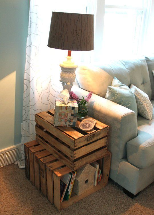 diy side table crates pile