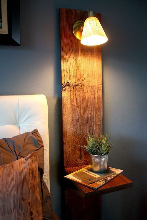 diy side table with wall lamp