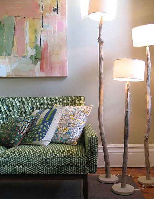 branches diy floor lamp
