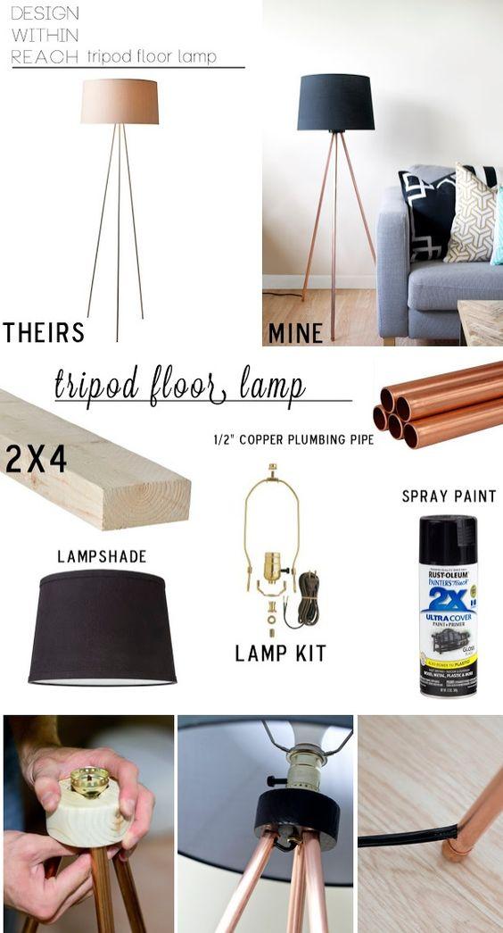 pipe tripod diy floor lamps