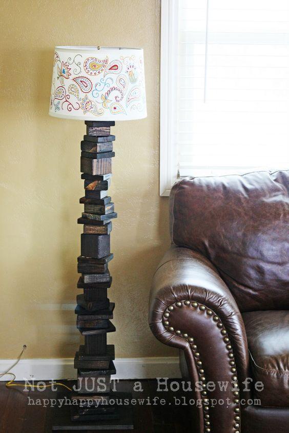leftover wood blocks forming a DIY floor lamp