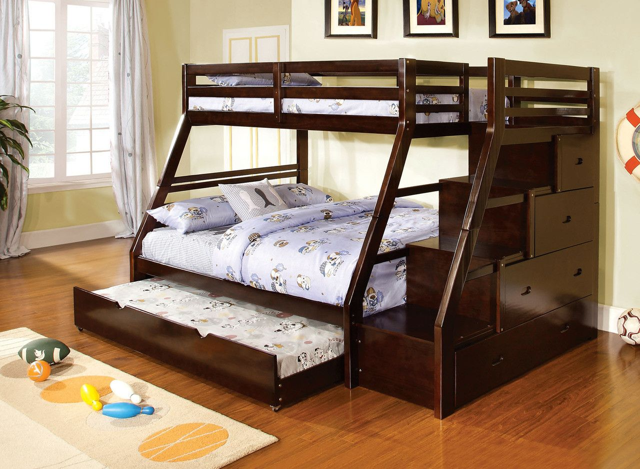Bunk bed with extra sliding bed