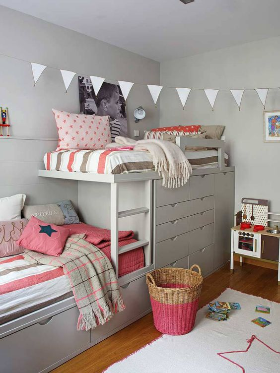 Bunk beds with built-in closet and drawers