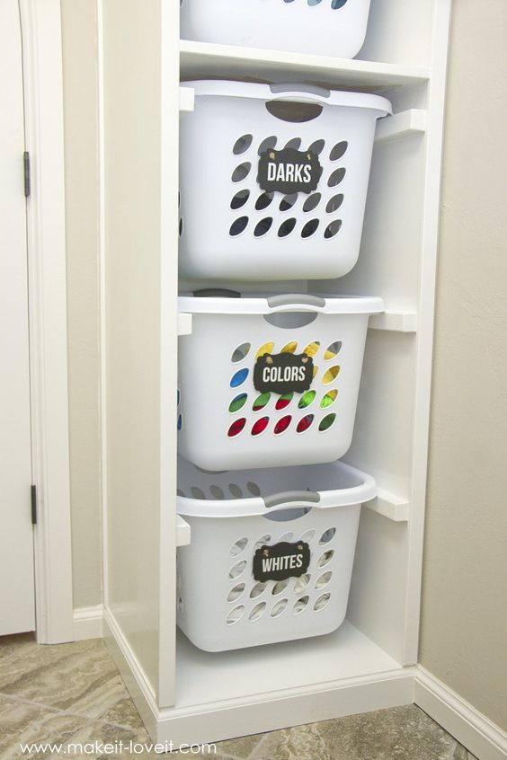 laundry room ideas using bins