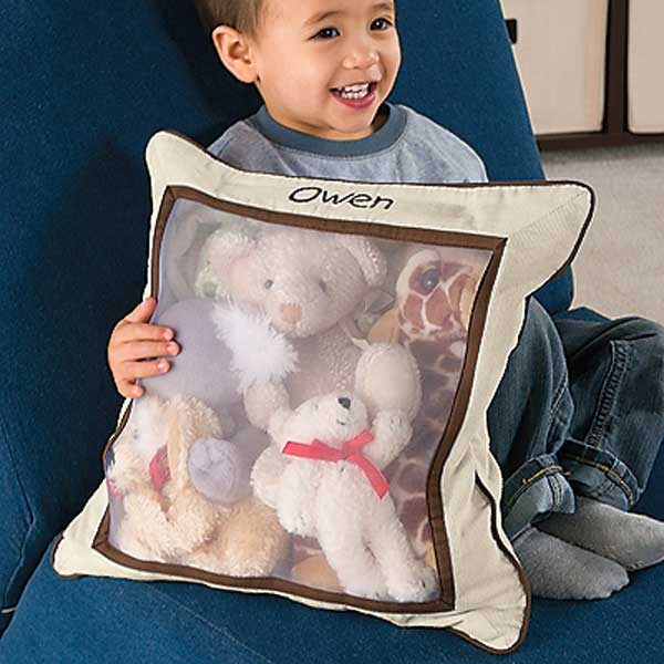 A pillow cover can be filled with stuffed animals