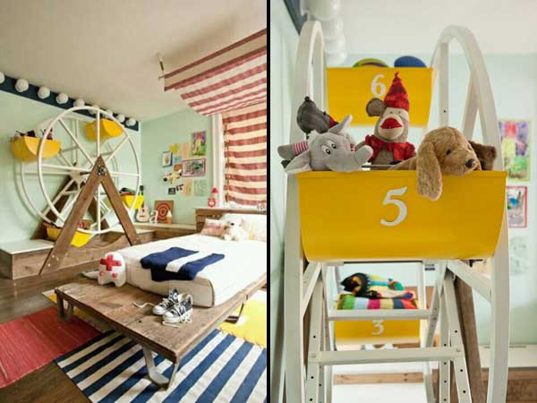 Get creative and make a Ferris wheel for your kid's room